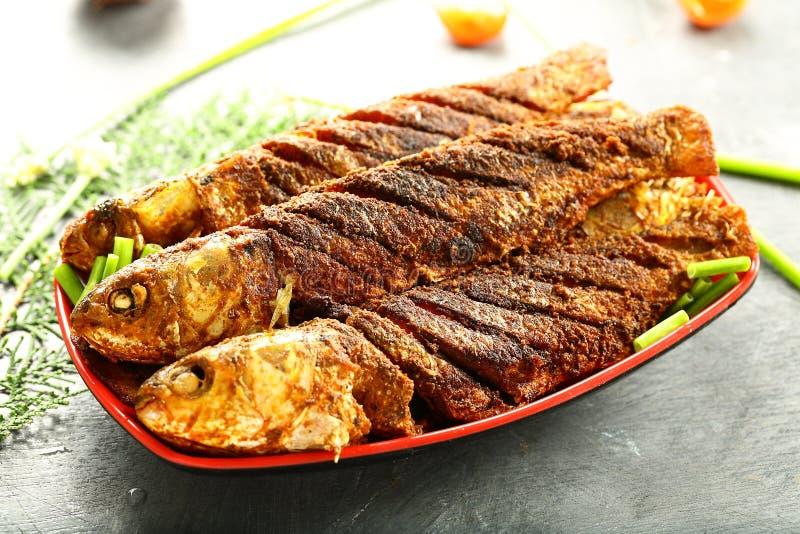 印度烹调,油煎的鱼用异乎寻常的香料 库存图片