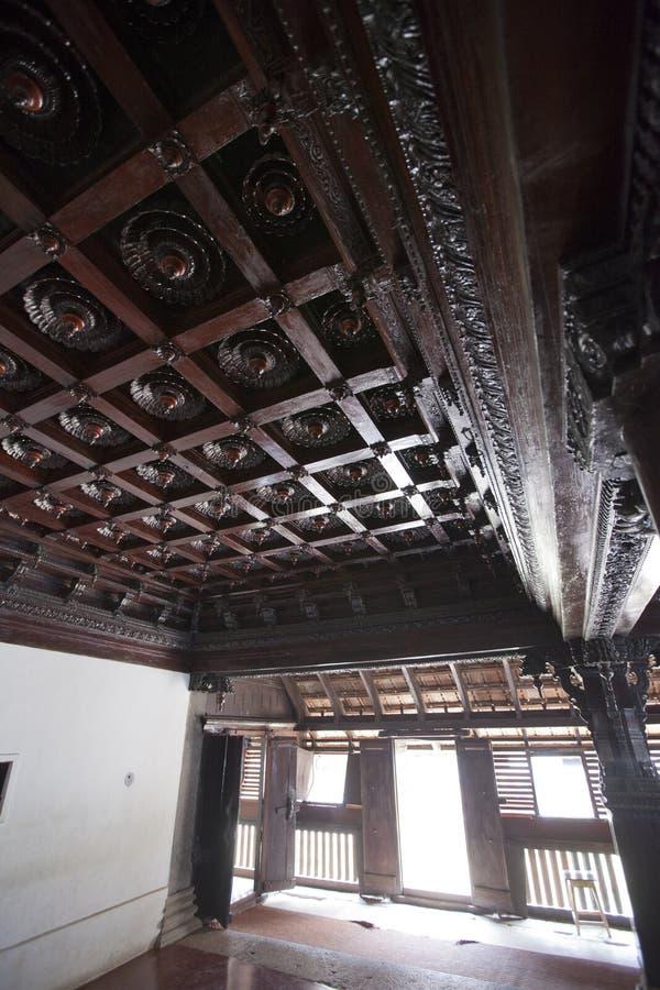 印度特里凡得琅王公的古木宫殿Padmanabhapuram 免版税库存照片