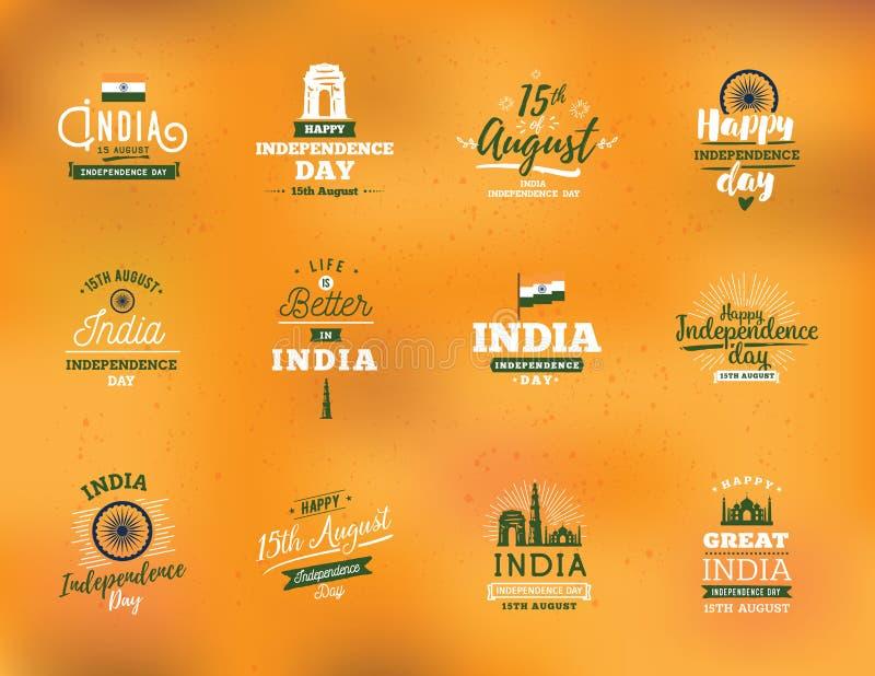 印度独立日,第15个威严的传染媒介象征 库存例证