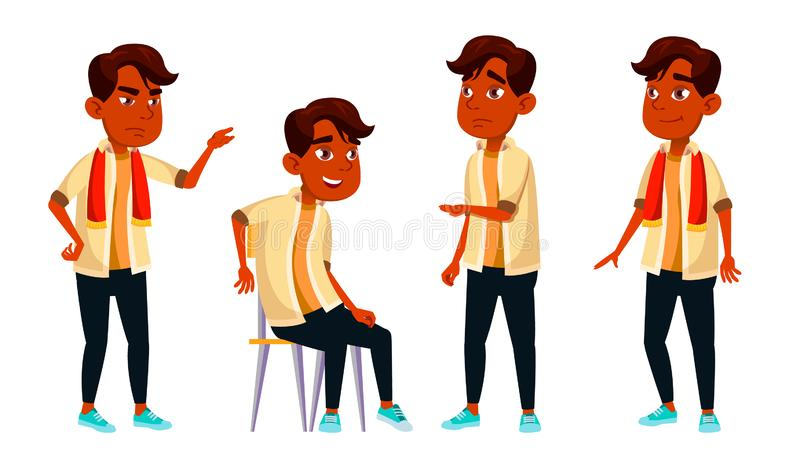 印度男孩男小学生孩子摆在集合传染媒介 高中孩子 儿童学生 主题,聪明,学习 对明信片 向量例证