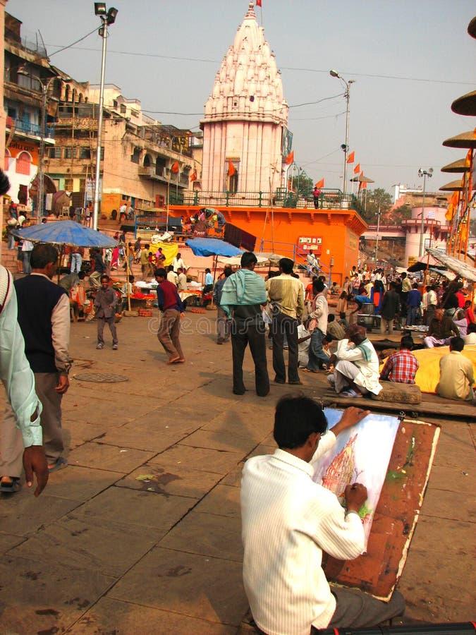 印度画家瓦腊纳西 图库摄影