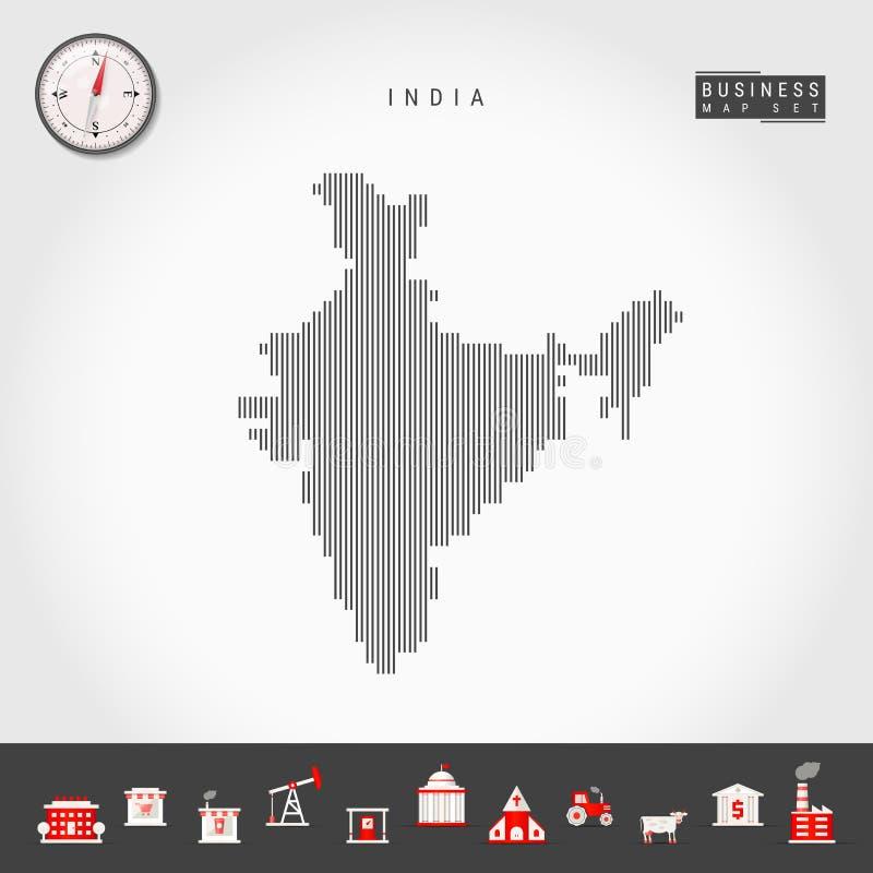 印度的传染媒介垂直线地图 印度的镶边剪影 现实指南针 r 库存例证