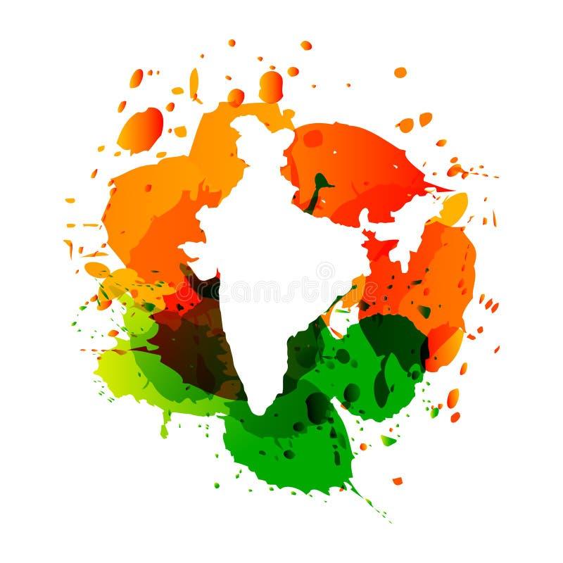 印度的传染媒介地图有五颜六色的墨水的飞溅 向量例证