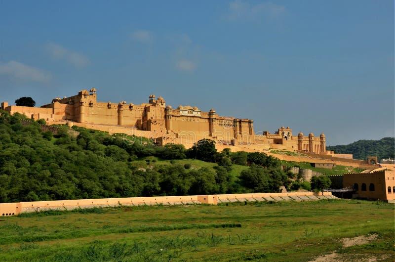 印度的地标-琥珀色的阿梅尔堡垒和宫殿 库存图片