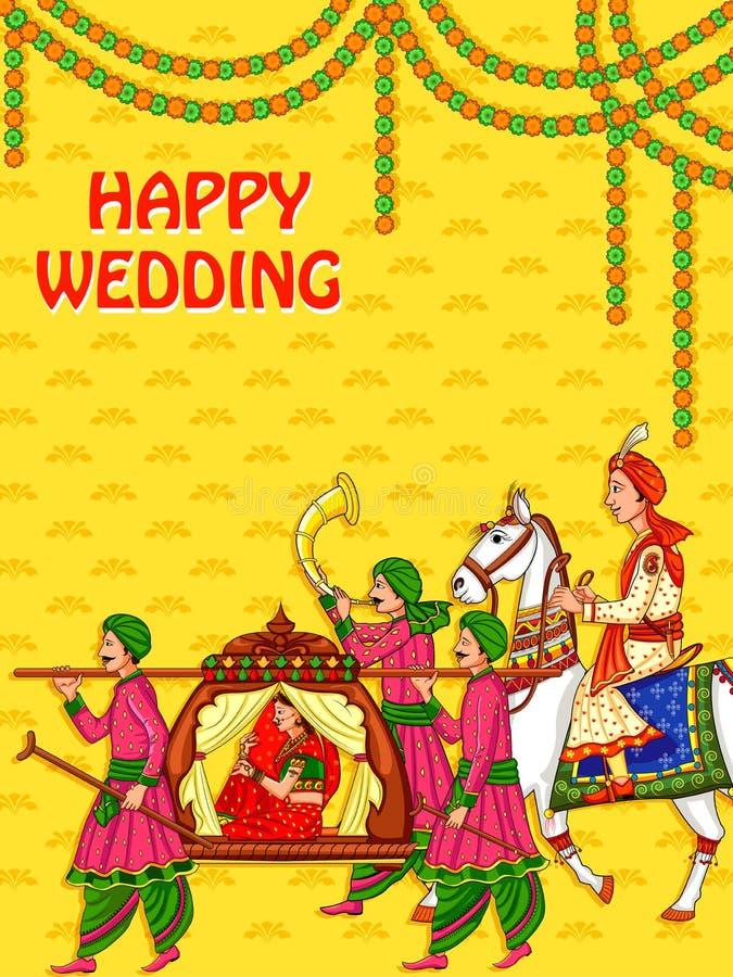 印度的婚礼的印度妇女新娘 向量例证