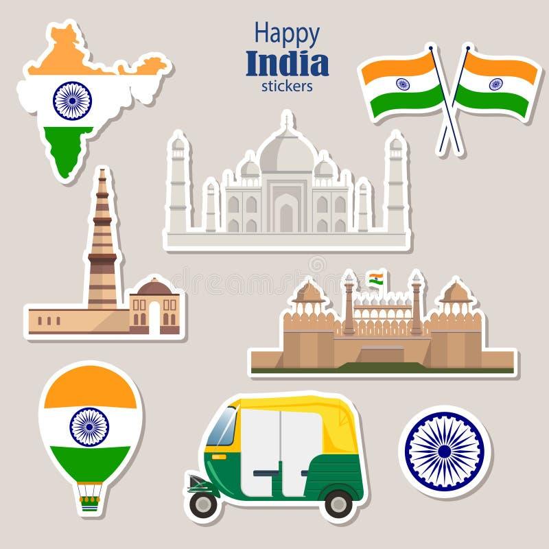 印度的旅行贴纸 Tuk tuk,泰姬陵, Qutab Minar,德里红堡 向量例证