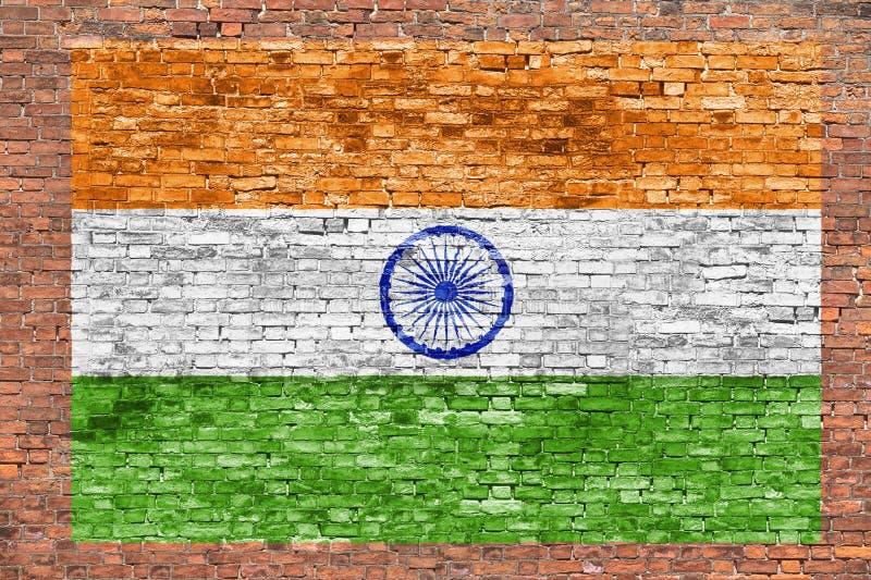 印度的旗子绘了在砖墙 图库摄影