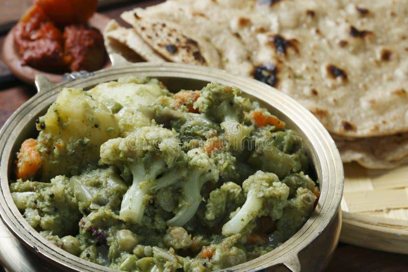 从印度的混杂的菜Saag 库存照片