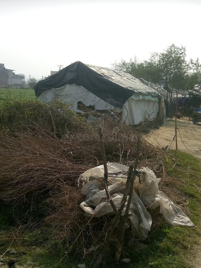 印度的穷人生活在这样的棚屋里生活在森林里 这是加济阿巴德的照片 库存照片
