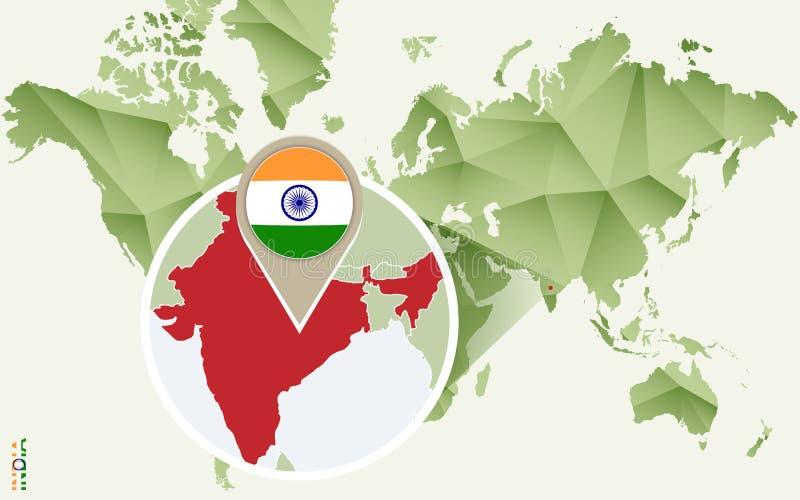 印度的,印度的详细的地图Infographic有旗子的 向量例证
