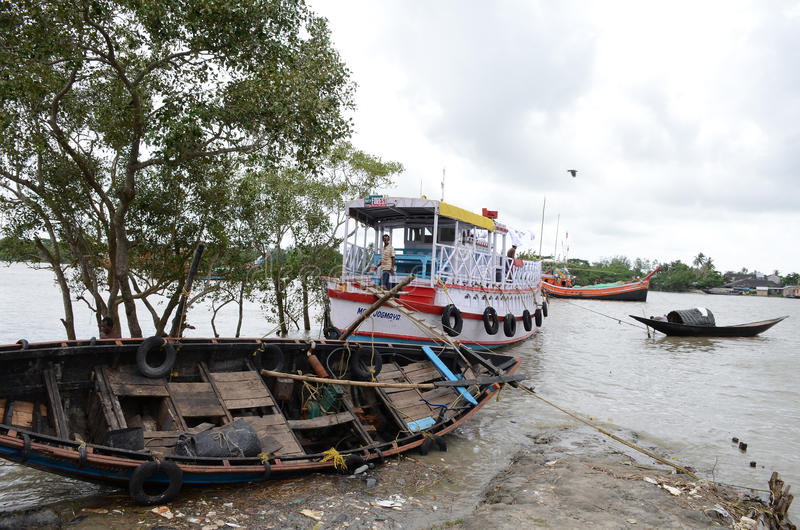 印度的Namkhana渔村庄 库存图片