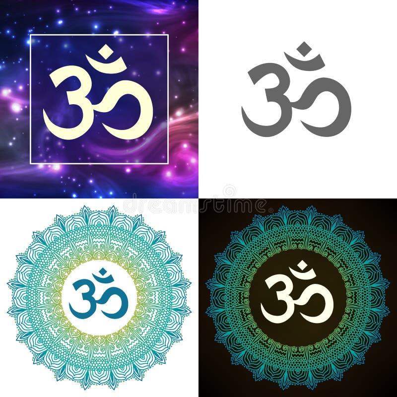 印度神上帝湿婆的Om标志设置了传染媒介 库存例证