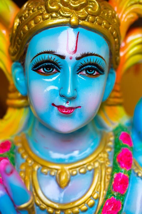 印度神克里希纳,克里希纳的面孔特写镜头  免版税库存图片