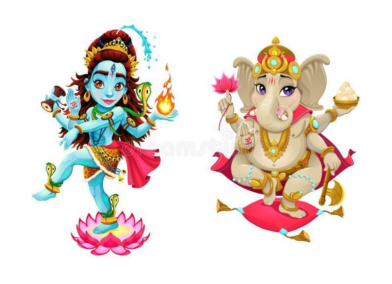 印度神希瓦和Ganesha的表示法 库存例证