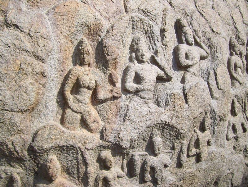 印度神马马拉普拉姆,泰米尔纳德邦,印度- 2009 6月14日,古老浅浮雕在花岗岩整体石头的 库存图片