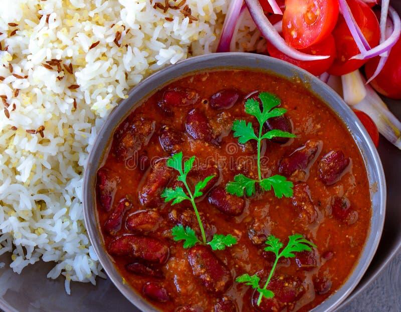 印度素食主义者旁遮普人膳食Rajma Chawal 免版税库存照片