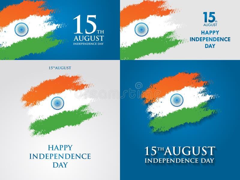 印度美国独立日贺卡传染媒介例证 第15威严的独立日 库存例证