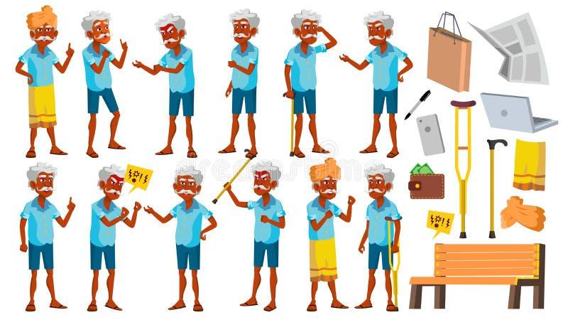 印度老人摆在集合传染媒介 老年人 印度 亚洲 资深人 年龄 快乐的祖父母 介绍 皇族释放例证