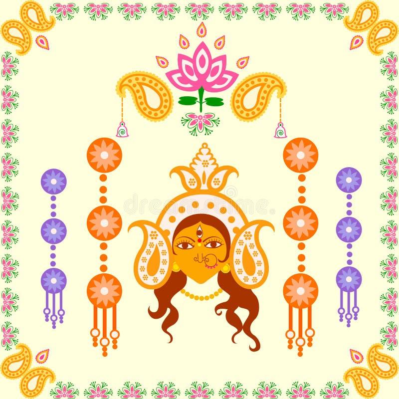 印度节日愉快的杜尔加Puja背景 皇族释放例证