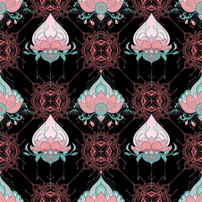 印度莲花无缝的样式mehndi无刺指甲花纹身花刺样式瑜伽凝思或禅宗自然力装饰背景 皇族释放例证