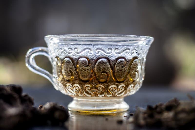 印度菝葜或Nannari用它的茶在一个透明杯子在保护的肝脏帮助并且有自然利尿,解毒的A 库存照片