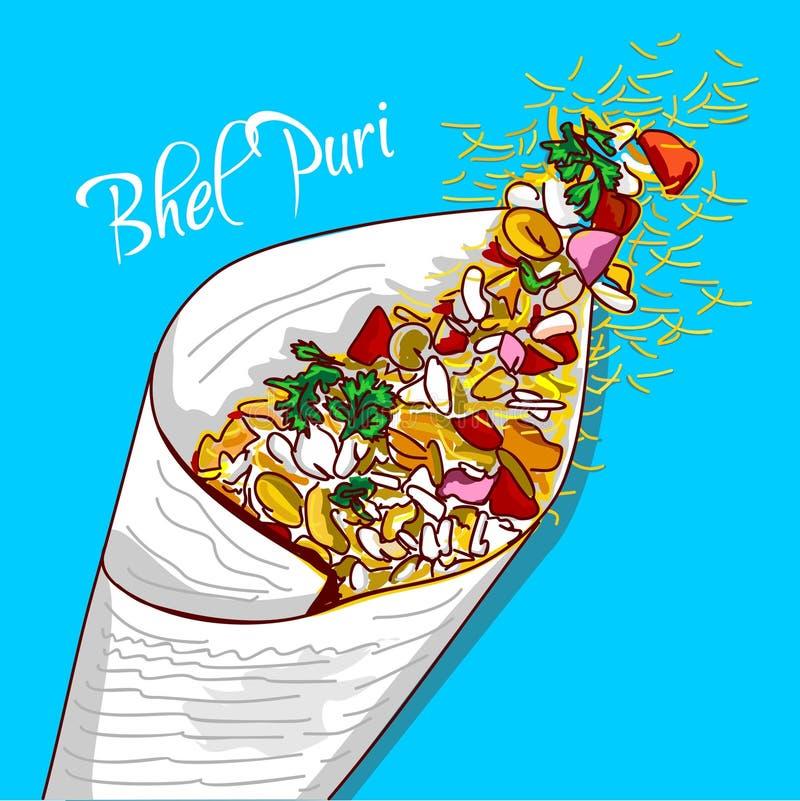 印度街道快餐Bhel puri 向量例证