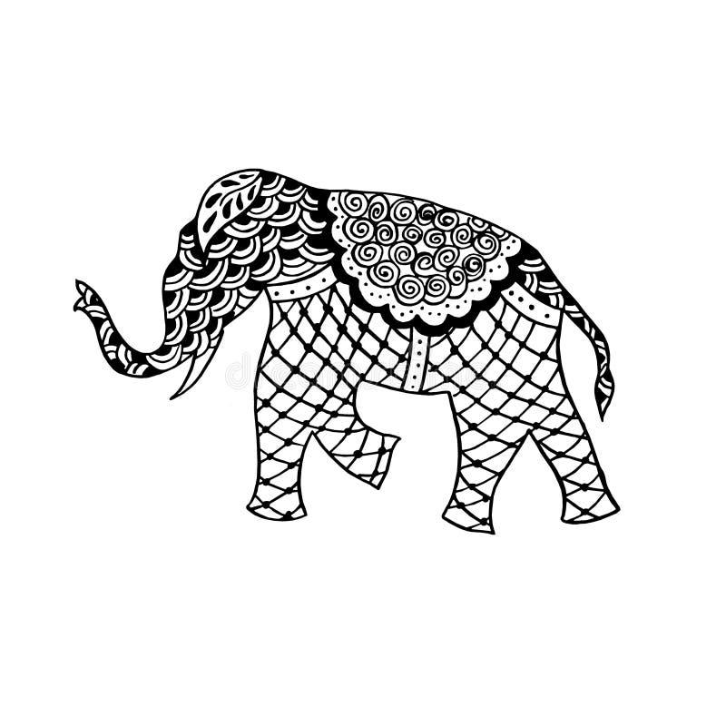 印度装饰品-大象和佩兹利-在贷方kalamkari的手图画 库存例证