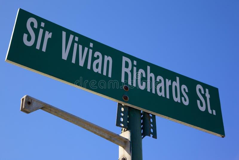 印度西部,加勒比,安提瓜岛,圣约翰斯, Vivian理查兹St Sign先生 图库摄影