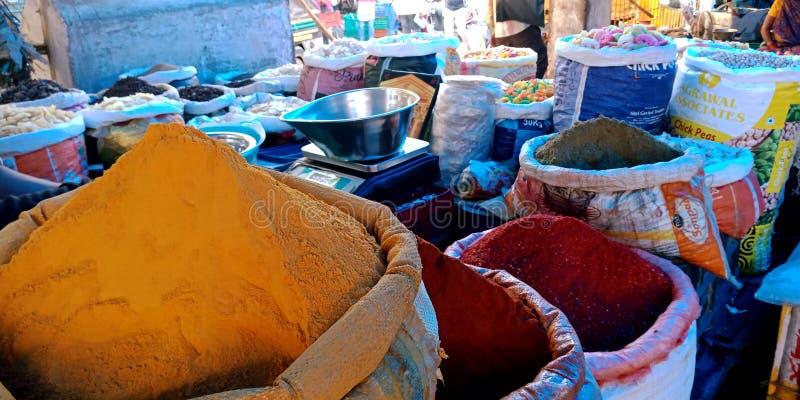 印度辣的香料混合物商店 库存图片