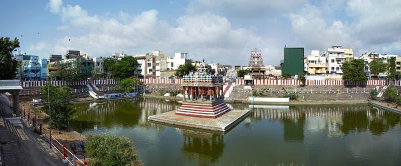 印度钦奈Thiruvallikeni的Sri Parthasarathy寺,印度教Vaishnavite寺,专门纪念毗湿奴勋爵 免版税库存照片