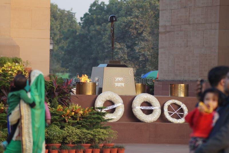 印度门 阿玛尔JAWAN乔蒂 德里 免版税库存照片