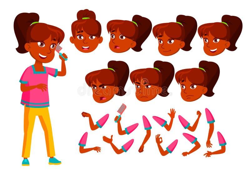印度青少年的女孩传染媒介 少年 逗人喜爱,可笑 喜悦 面孔情感,各种各样的姿态 动画创作集合 查出 向量例证