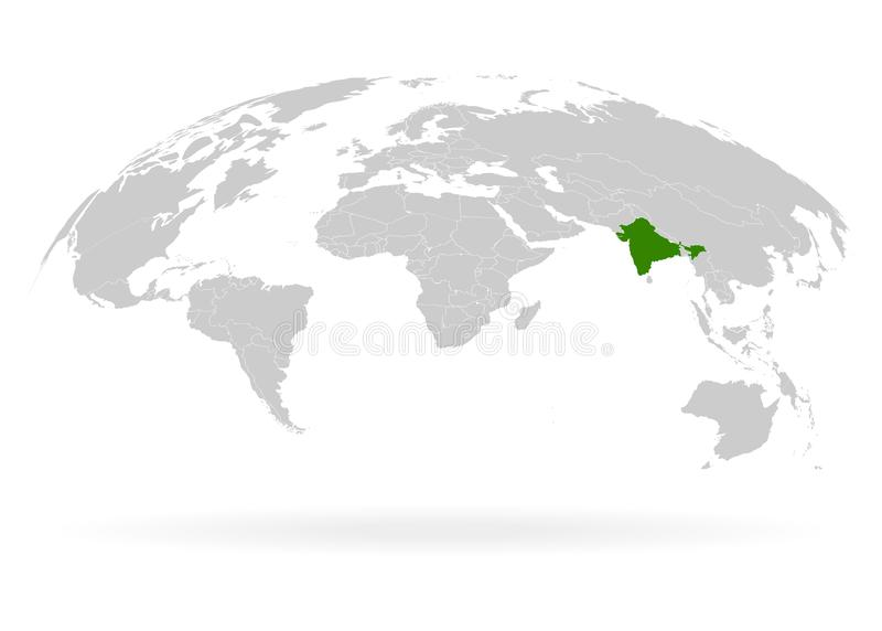 印度领土 地球 白色背景中的地球、世界地图 矢量插图 EPS10 皇族释放例证