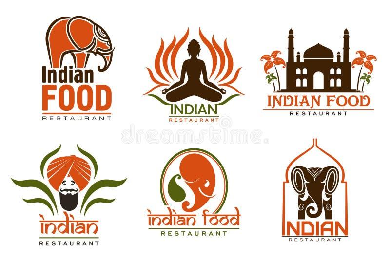印度食物厨师、泰姬陵、莲花和大象 向量例证