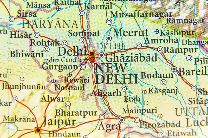 印度首都新德里地理地图  免版税库存图片
