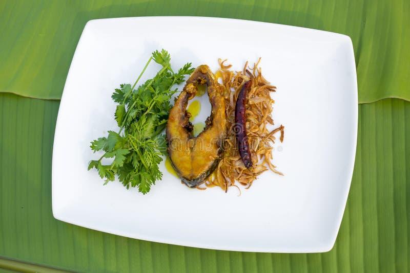 印度鲥炸鱼,葱和干冷颤与香菜叶子在板材 免版税库存照片