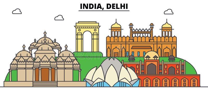 印度,德里,印度教 城市地平线,建筑学,大厦,街道,剪影,风景,全景,地标 向量例证