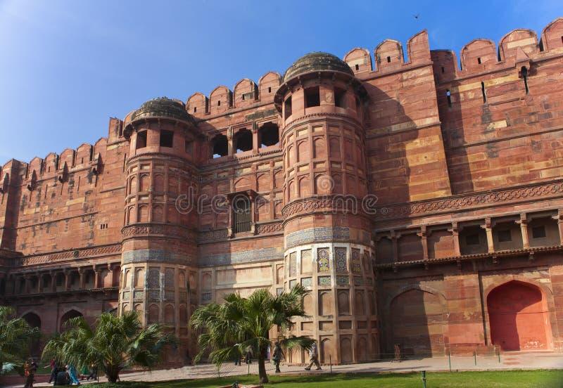 印度 侵略 红色堡垒在晴天 免版税库存照片