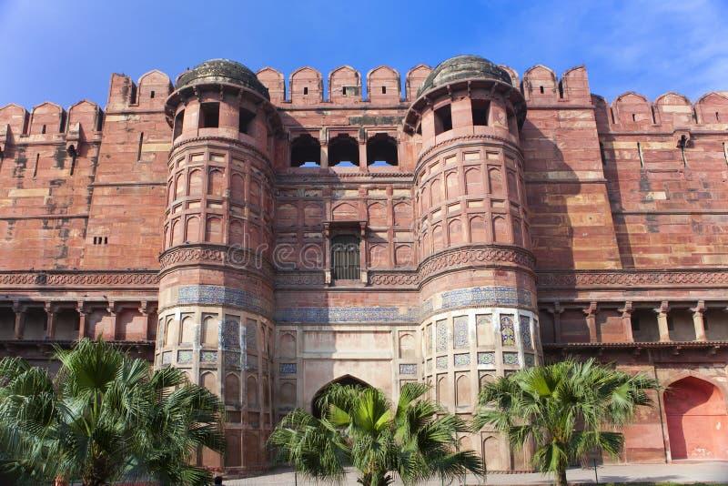 印度 侵略 红色堡垒在晴天 免版税库存图片