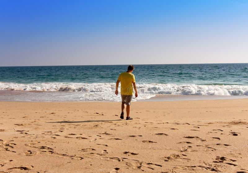 印度 喀拉拉 海滩的少年 免版税库存照片