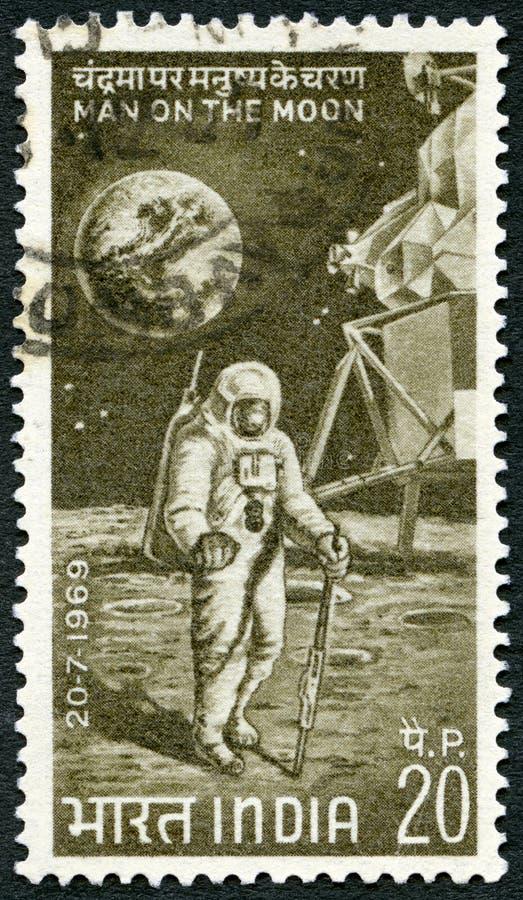 印度- 1969年:月亮的展示宇航员 图库摄影