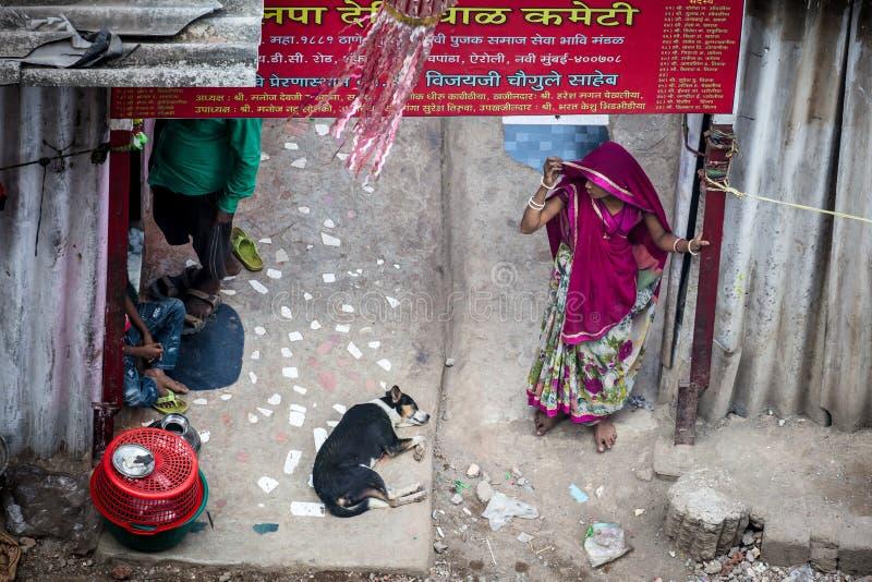 印度贫民窟场面 免版税库存图片