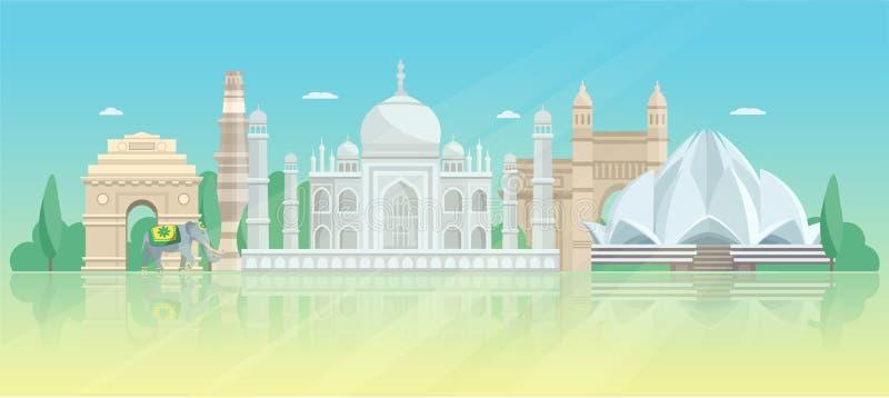 印度建筑地平线海报 向量例证