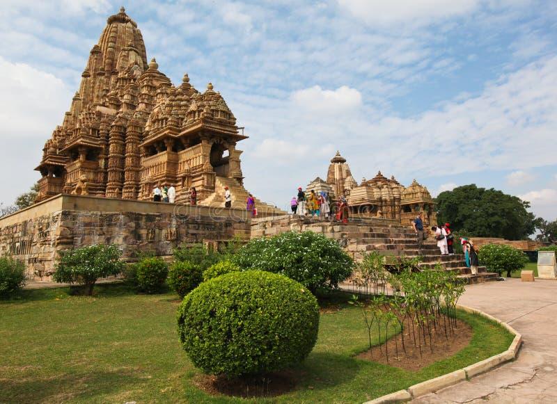 印度khajuraho寺庙 免版税库存图片
