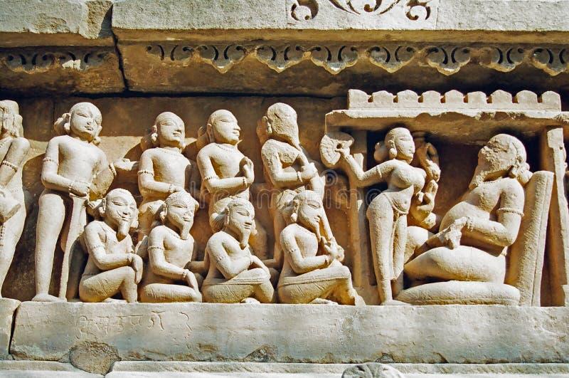 印度khajuraho雕象 免版税库存照片