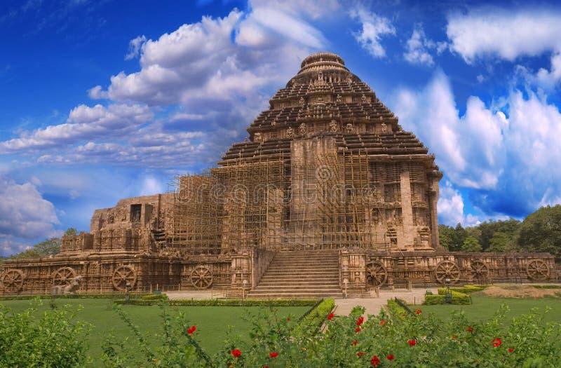 印度konark端星期日寺庙视图 免版税库存图片