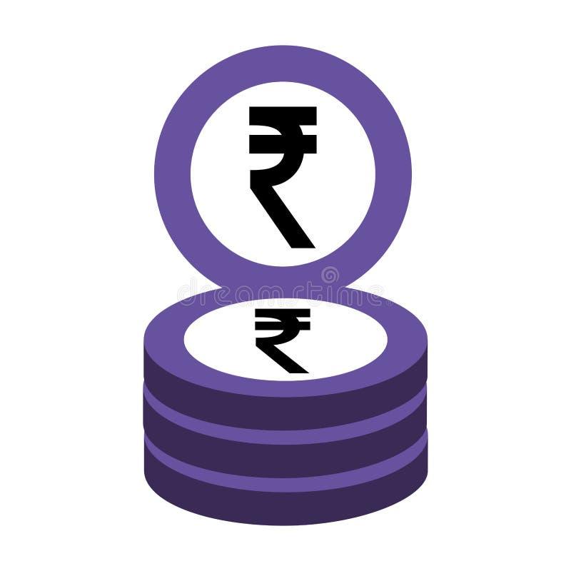 印度ruppe硬币堆积企业金钱 库存例证