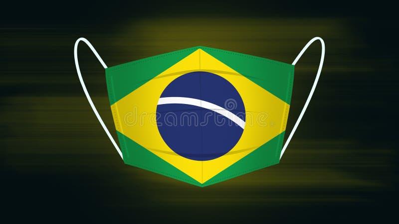 印有巴西国旗的面具 免版税库存照片