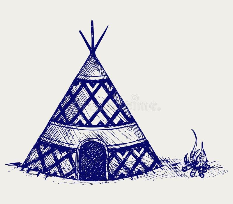 印第安圆锥形帐蓬 库存例证