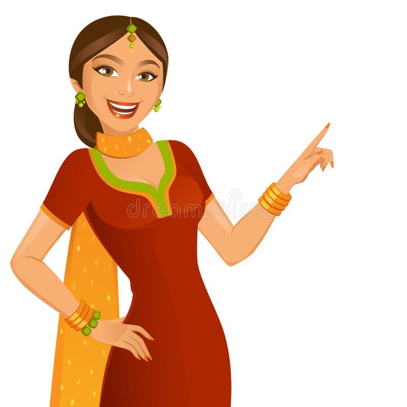 印第安女孩 向量例证
